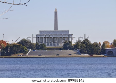View of the Lincoln Memorial with Washington Memorial background, Washington DC USA