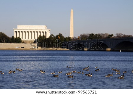 View of the Lincoln Memorial with Washington Memorial background, Washington DC USA - stock photo