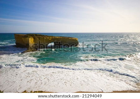 View of the London bridge at Great Ocean Road, Melbourne, Australia - stock photo