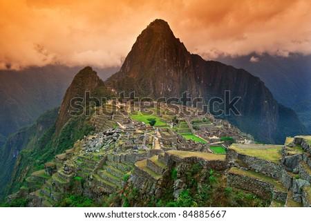 View of the Lost Incan City of Machu Picchu near Cusco, Peru. - stock photo
