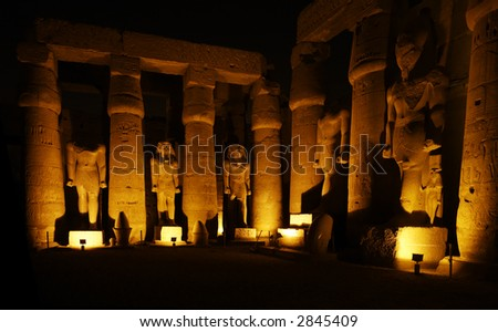 view of the luxor temple by night in upper egypt - stock photo