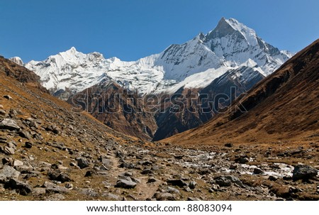 View of the Machhapuchre from the west - Nepal, Himalayas
