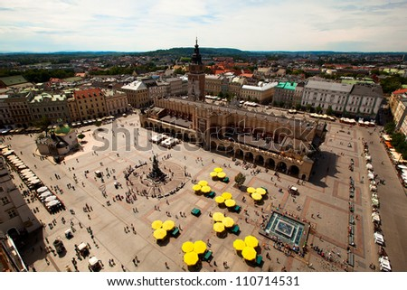 View of the Main Square (Polish: Rynek Glowny w Krakowie) is the main market square of the Old Town in Krakow, Poland. - stock photo