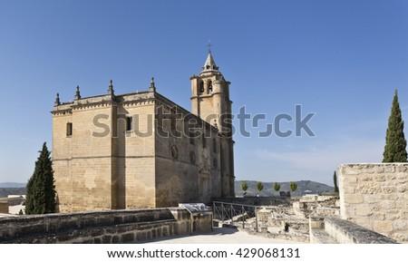View of the Major Abbey Church in the Fortaleza de La Mota, Spain - stock photo