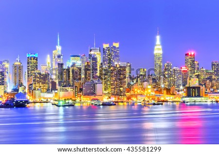 View of the Manhattan skyline at dusk - stock photo