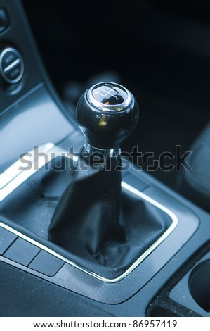 view of the manual gearbox - stock photo