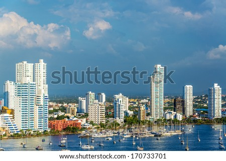 View of the marina and tall apartment buildings in the modern section of Cartagena, Colombia - stock photo