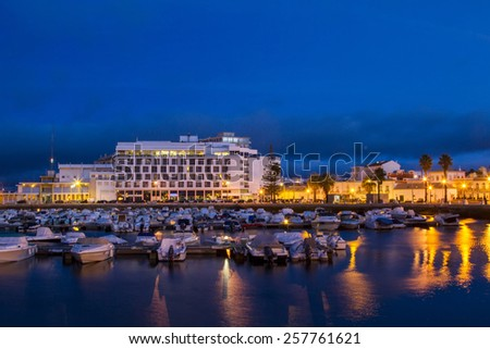 View of the marina of Faro city in the evening.