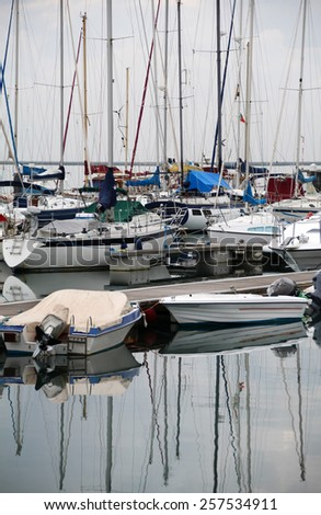 View of the marina of olhao city, Portugal. - stock photo
