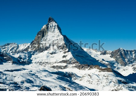 View of the matterhorn in winter, Gornergrat, Zermatt, Switzerland.