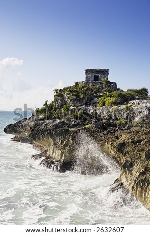 view of the mayan archaeological site of tulum - stock photo