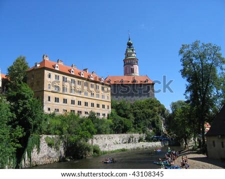 View of the medieval city of Cesky Krumlov - stock photo