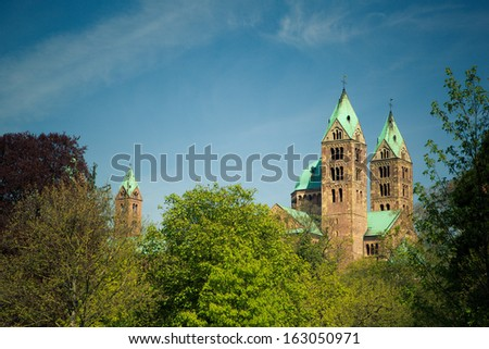 View of the medieval romanic Cathedral at Speyer Germany