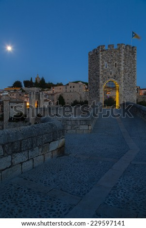 View of the medieval town of Besalu, Girona, Spain - stock photo