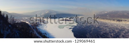 View of the merger of the Siberian rivers Yenisei with Mana - stock photo