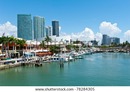 View of the Miami Bayside Marketplace. All logos and brand names removed. - stock photo