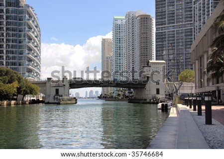 View of the Miami River and downtown Miami with Offices and Apartments. - stock photo