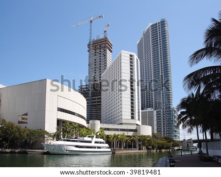View of the Miami River and downtown with Offices and Apartments. - stock photo
