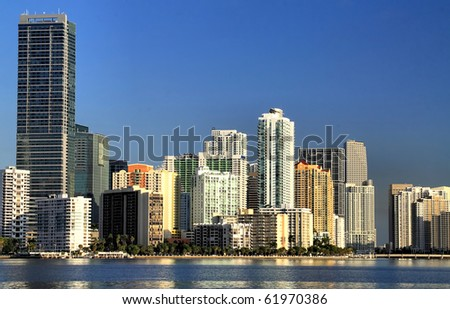 View of the Miami Skyline with offices and Apartments. - stock photo