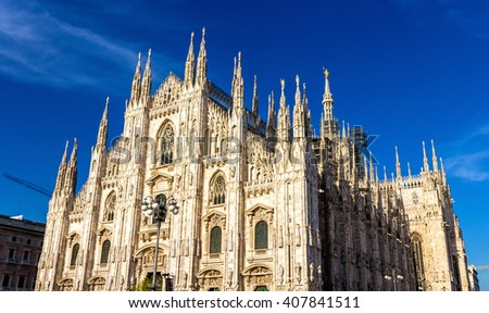 View of the Milan Cathedral - Italy, Lombardy - stock photo