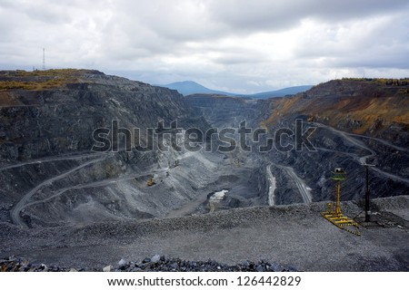 View of the mining camp from above - stock photo