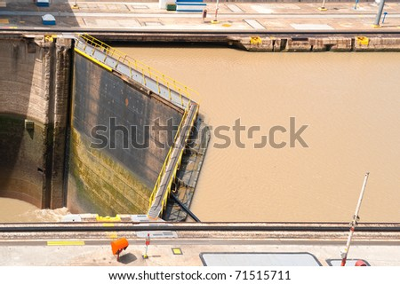 View of the Miraflores Locks in the Panama Canal, on the Pacific side. - stock photo