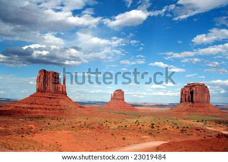 View of the mittens of monument valley - stock photo