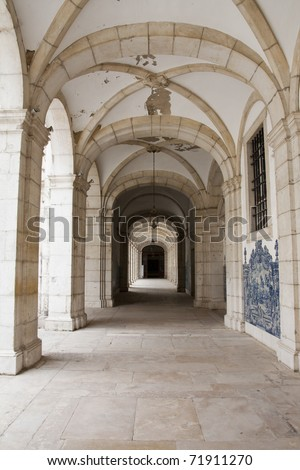 View of the Monestary Sao Vicente de Fora located on Lisbon, Portugal. - stock photo