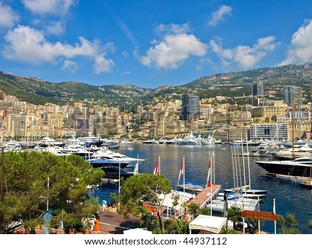 View of the Monte Carlo from Yacht Club de Monaco - stock photo