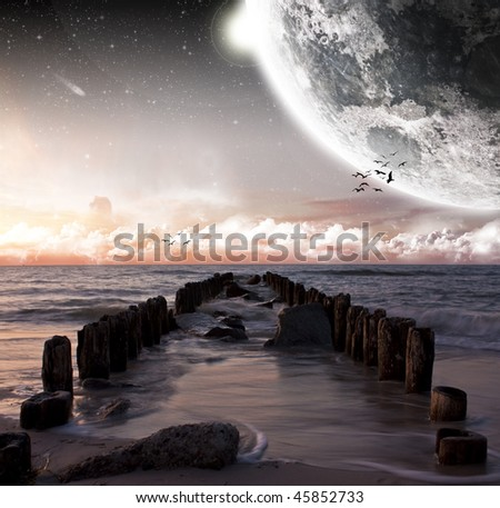 View of the moon from a beautiful beach - More space art in my portfolio - stock photo