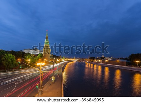 View of the Moscow Kremlin along the quay of the Moscow river - stock photo