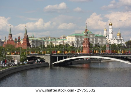view of the moscow kremlin and the river - stock photo