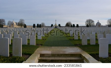 View of the most famous ally cemetery near Ypres, Belgium - Tyne Cot. - stock photo