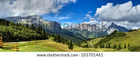view of the mount alta badia  - Italy - stock photo