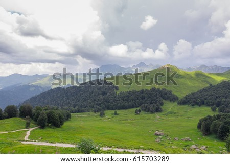 View of the mountain grasslands, Caucasus Mountains