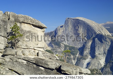 view of the mountain known as Half Dome in Yosemite National Park, California, United States. - stock photo