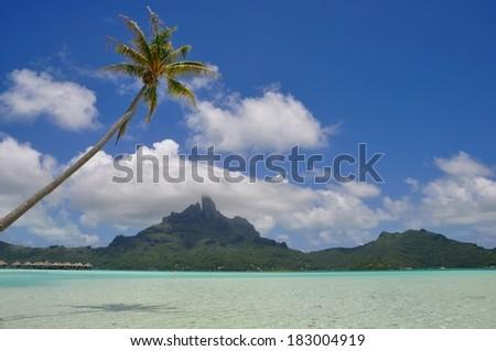 View of the mountain of Bora Bora island with palms, shadows and lagoon - stock photo
