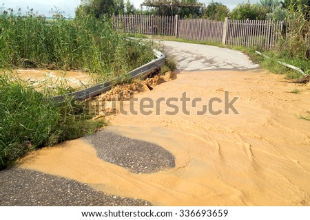 View of the mountain river after storm - stock photo