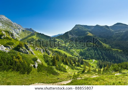 View of the mountain valley. Germany. Jenner am Koenigssee. - stock photo