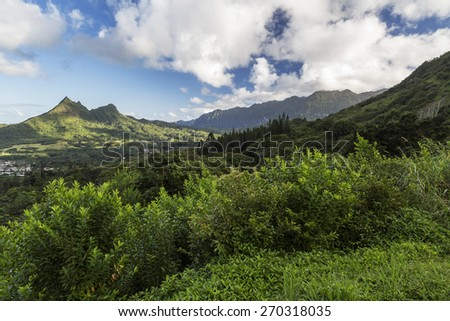View of the mountains along the Pali Highway at the Nuuanu Pali State Park on Oahu Island in Hawaii. - stock photo