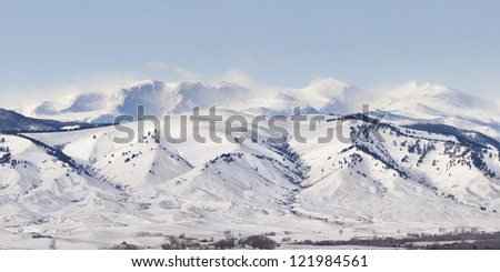 View of the mountains driving from Gillette Wyoming - stock photo