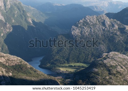 View of the mountains from the Preikestolen cliff, Norway
