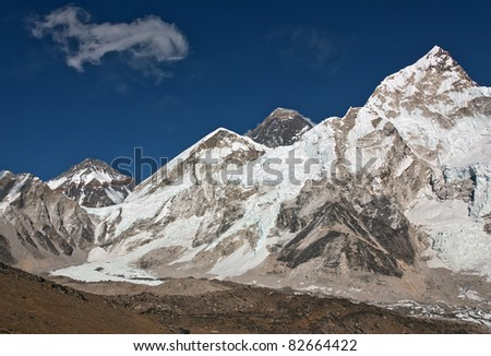 View of the Mt. Everest and Nuptse - Nepal - stock photo