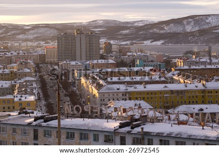 view of the murmansk in the winter - stock photo