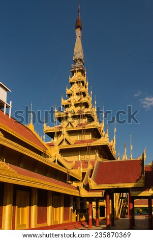 View of the Myey Nan Taw, the building housing the Lion Throne, at the Mandalay Royal Palace compound - stock photo