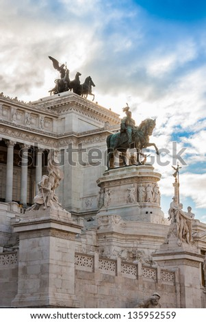 View of the national ,monument a Vittorio Emanuele II on the the Piazza Venezia in Rome, Italy - stock photo