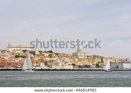 View of the national Pantheon and the convent of Saint Vicente de Fora, from the Tagus river, at Alfama in Lisbon, Portugal