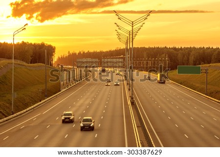 View of the new highway at sunset time. - stock photo