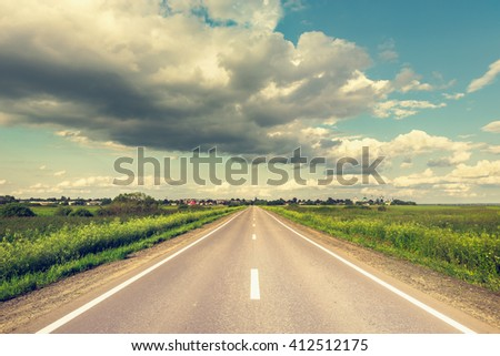 View of the new highway to the small settlement. - stock photo