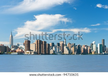 View of the New York from Hudson river; GPS information is in the file - stock photo